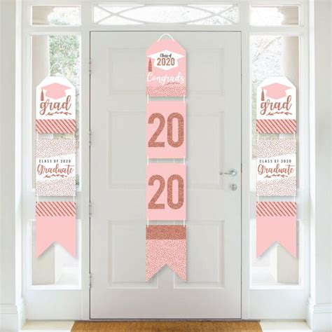 Find graduation decorations to celebrate the new grad: Rose Gold Grad - Hanging Vertical Paper Door Banners - 2020 Graduation Party Wall Decoration Kit ...