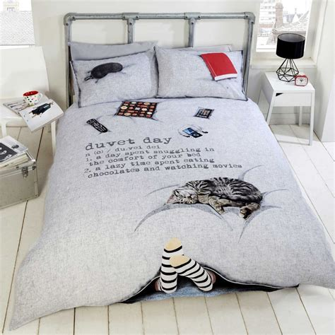 cat duvet cover details about duvet day cosy cat chocolate quilt duvet