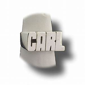 Silver carl name ring for Block letter rings