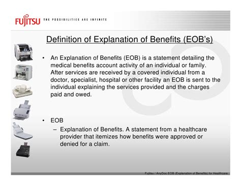 It covers hospitalization expenses, day care procedures, domiciliary expenses, and ambulance charges, besides many others. Fujitsu Scanners & AnyDoc® EOB (Explanation Of Benefits ...