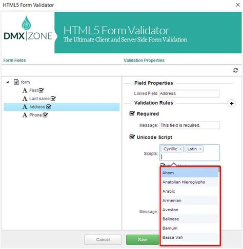 html5 form validator unicode add on extensions dmxzone