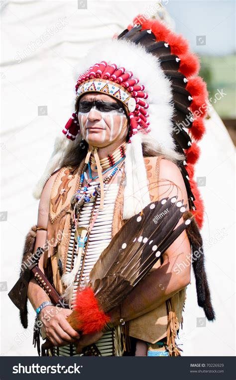 Indian Chief Image by Portrait Of American Indian Chief In National Dress Stock