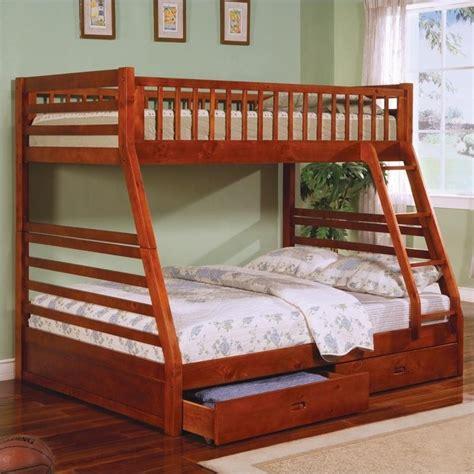 coaster ogletown twin  full bunk bed  oak finish