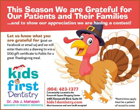 Thanksgiving Contest Kids First Dentistry