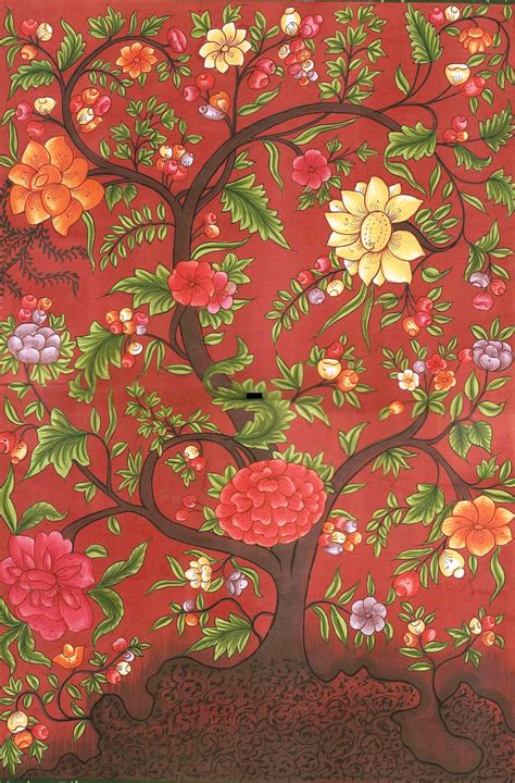 modern indian decor mughal miniature floral painting handmade moghul indian