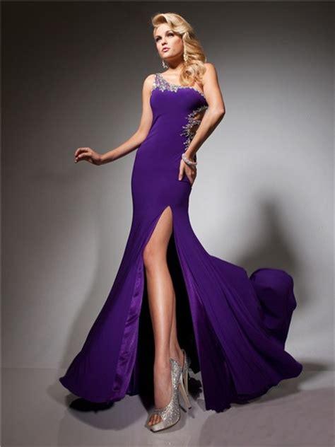 pretty  shoulder long purple chiffon evening prom dress