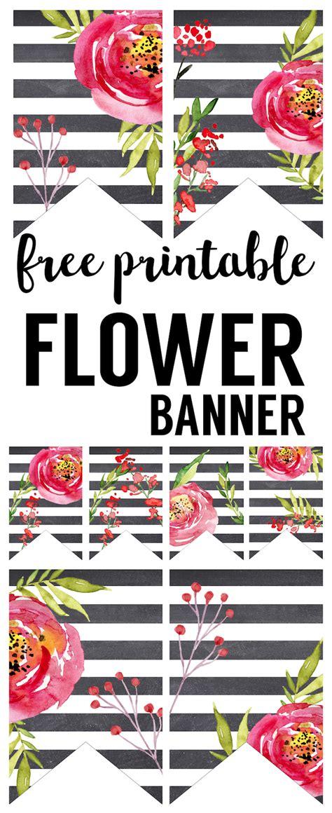 watercolor flower banner  printable paper trail design