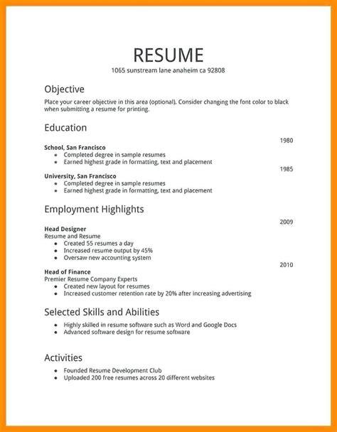 Types Of Resume by Types Of Resume Resume Template Ideas