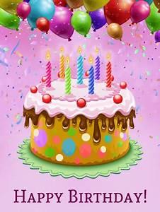 Colorful Happy Birthday Cake Card   Birthday & Greeting ...