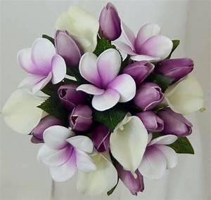 Silk wedding bouquet latex white lily purple tulip ...