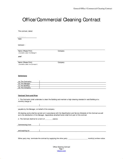 cleaning contracts template emmamcintyrephotographycom