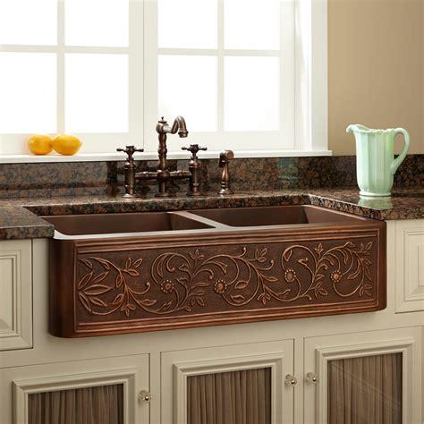 gold kitchen faucet 36 quot vine design bowl copper farmhouse sink kitchen