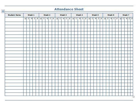 weekly attendance chart