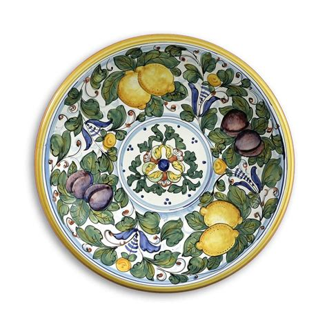 Tuscan Decorative Wall Plates by Intrada Italy Wall Plate With Lemons Plums Green 16 Quot D