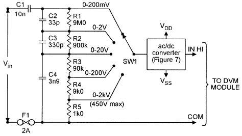 Five Range Voltmeter Converter For Use With Dvm Modules