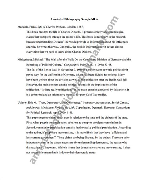 mla format annotated bibliography template