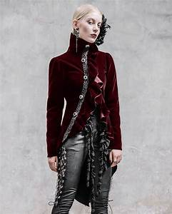 Devil Fashion Requiem Womens Tailcoat Jacket Red Velvet ...