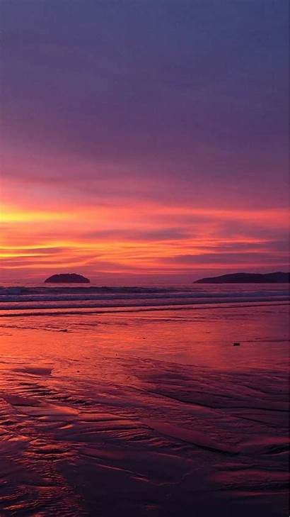 Iphone Beach Sunset Wallpapers Nature Mobile Skyline