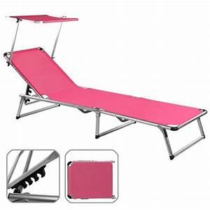 Chaise Longue Pliante : chaise longue de jardin rose pliante aluminium achat ~ Melissatoandfro.com Idées de Décoration