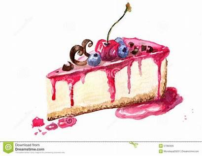 Cheesecake Dessert Piece Watercolor Cake Drawing Illustrazione