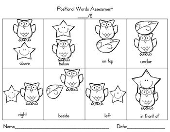 positional words assessment freebie by almost heaven