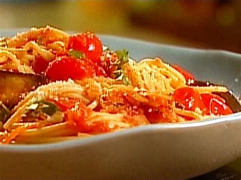 spaghetti  roasted eggplant  cherry tomatoes recipe