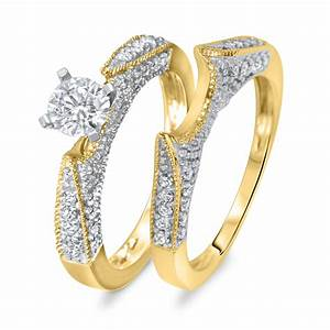 1 ct tw diamond women39s bridal wedding ring set 14k With gold wedding ring sets for women