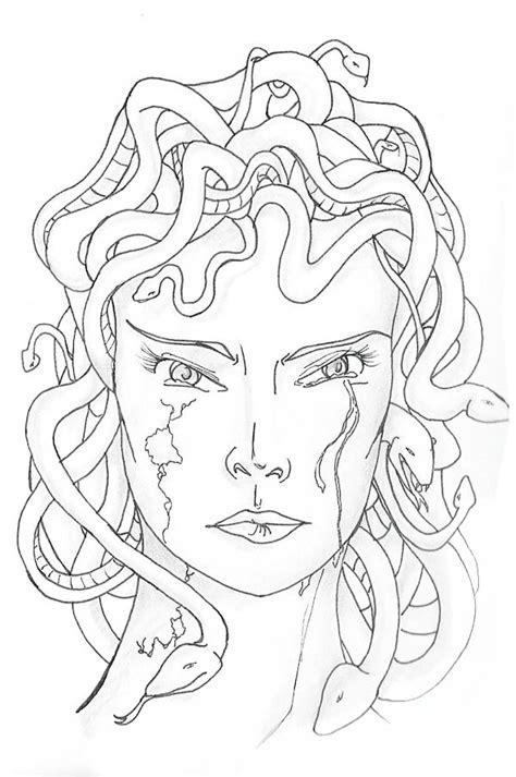 medusa turned  stone coloring page netart