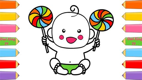 How To Draw Baby Doll Lollipop Rainbow, Candies