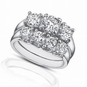 225 ct three stone round diamond engagement ring with With wedding band for three stone ring