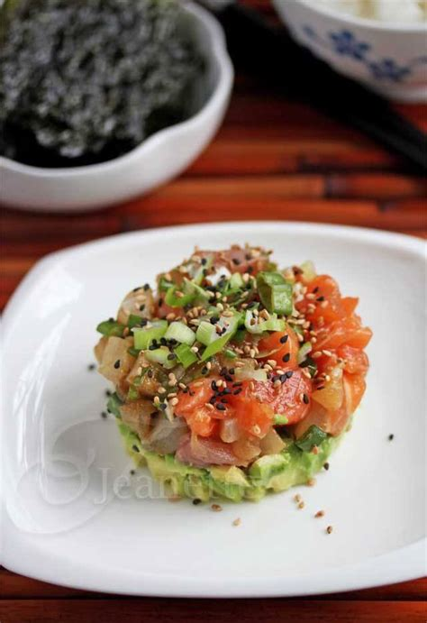 mixed fish  avocado poke tower recipe deconstructed