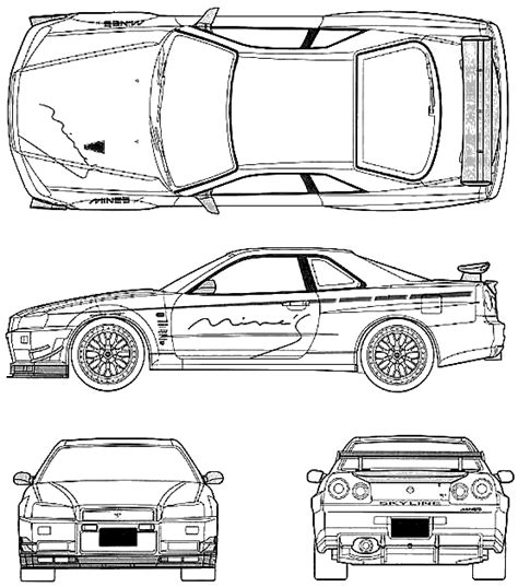 nissan skyline drawing outline 1999 nissan skyline r34 gt r coupe blueprints free outlines
