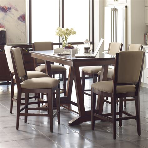 dining table with stools seven piece counter height dining set with upholstered