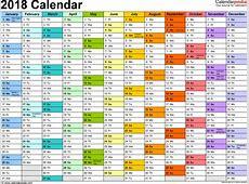 2018 Calendar Excel monthly printable calendar