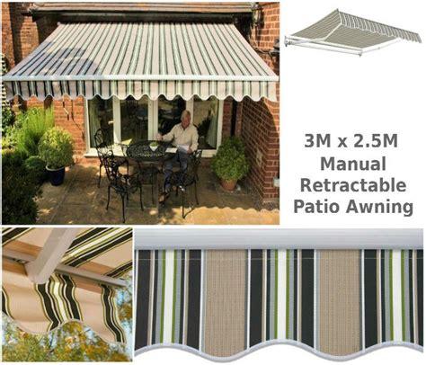 retractable patio awning    lido bg stripe awning  shop