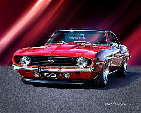 muscle car print  camaro ss hot rod art auto poster