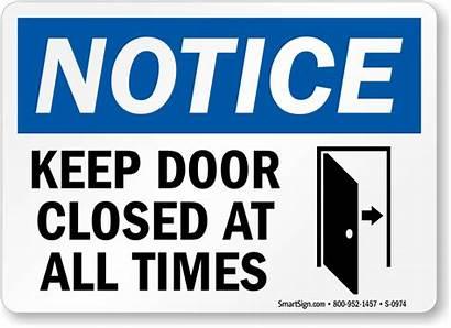 Door Sign Closed Keep Notice Times Lock