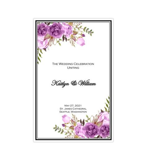 catholic church wedding program romantic blossoms purple