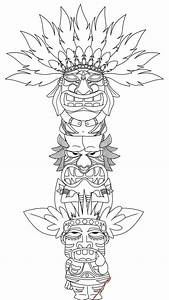 free printable totem pole coloring pages for kids With totem pole design template