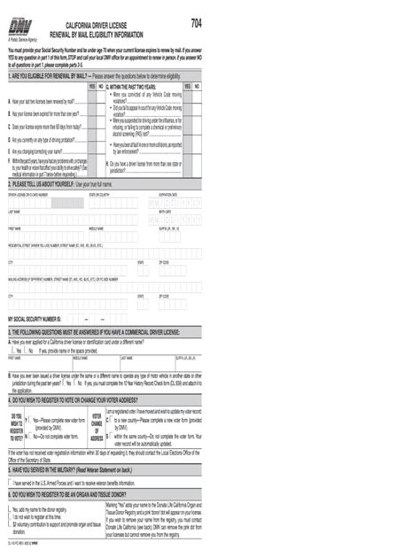 The renewal notice will provide detailed information to producers regarding the on line renewal process. 2011 Form CA DMV DL 410 FO Fill Online, Printable, Fillable, Blank - PDFfiller