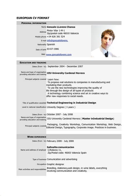 Cv Format Template by Canadian Cv Format Pdf Planner Template Free