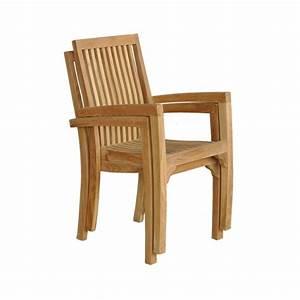 Chaise Et Fauteuil De Jardin : lot de 2 fauteuils de jardin empilables en bois de teck midland bois dessus bois dessous ~ Teatrodelosmanantiales.com Idées de Décoration