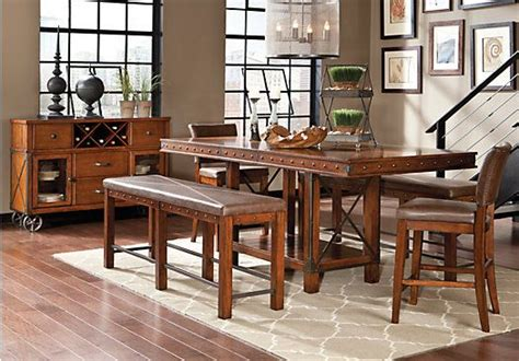 Rooms To Go Dining Tables - hook pecan 3 pc counter height dining room ideas for