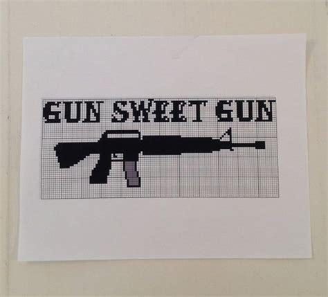 gun sweet gun cross stitch pattern ar  design easy