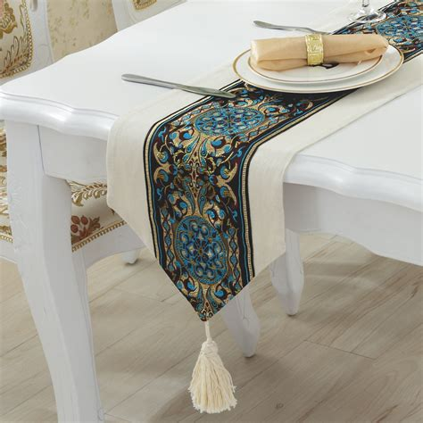 simple and modern european luxury table runner embroidered linen solid coffee table runner