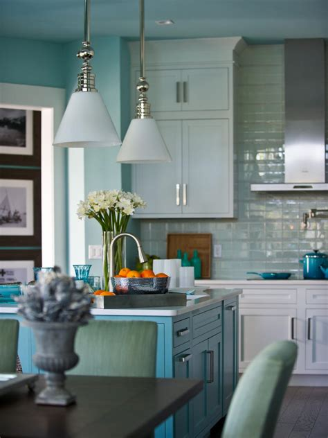blue kitchen pendant lights beachy blue kitchen with pendant lighting hgtv 4830