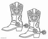 Coloring Boot Boots Pages Cowboy Popular sketch template