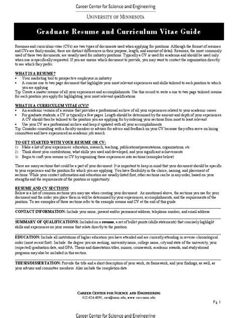 graduate resume and curriculum vitae guide