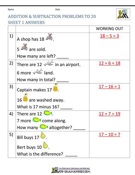 1st grade math worksheet subtraction word problems 1st grade addition and subtraction word problems