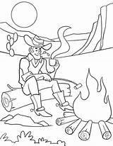 Coloring Pages Campfire Cowboy Sitting Adults Cowboys sketch template